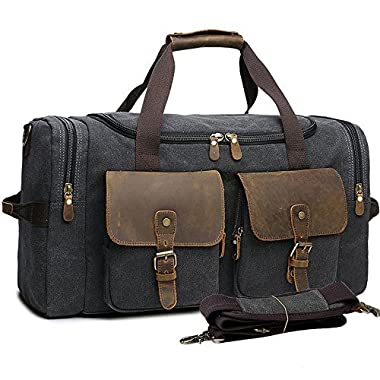 Canvas Travel Duffle Bag Leather Weekend Overnight Bag for Men Women Travel Tote Carry on Luggage (Black - 44L)