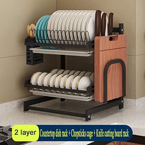 Teller Schüssel Kochutensilien Halter Organizer Schwarz Edelstahl Küchenarbeitsplatte Abflussregal, 2 Schichten / 3 Schichten