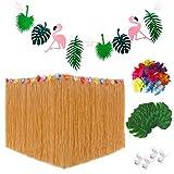 Falda hawaiana mesa, Decoraciones Flamingo Party Banner Hojas de palma verde Flores hawaianas para el verano Boda en la playa BBQ Jardín tropical Fiesta de carnaval Tiki