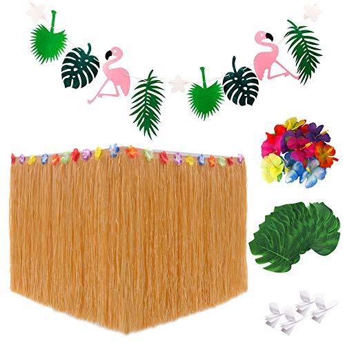 Gonna da tavolo, Decorazioni Flamingo Party Banner Green Palm Leaves Fiori hawaiani per l\'estate Beach Wedding BBQ Tropical Garden Tiki Carnival Party