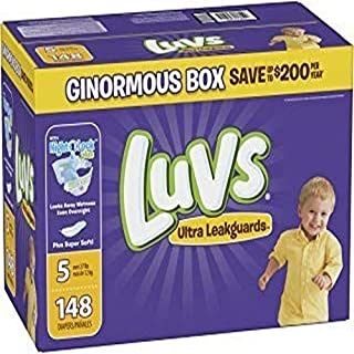 Luvs Ultra Leakguards Disposable Baby Diapers, Size 5, 148 Count, ONE MONTH SUPPLY (Packaging May Vary)