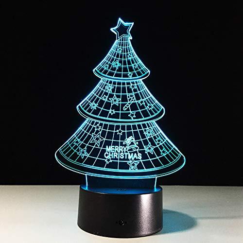3D Lampe Illusion Optique LED Veilleuse de Nuit Sapin De Noël 7 Couleurs Transformation de Chevet Chambre Table Art Déco Enfant Lumière de Nuit avec Câble USB,Télécommande et Tactile