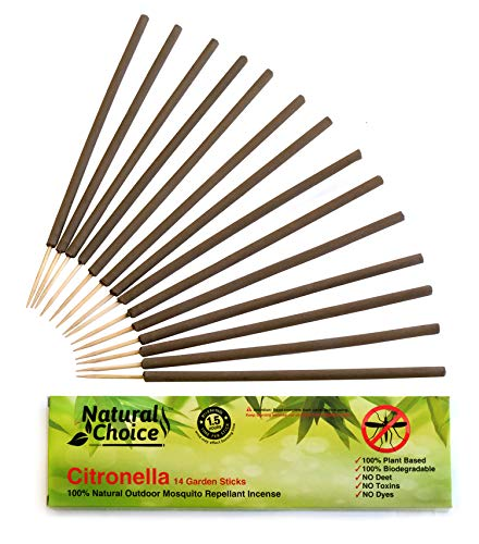 NATURAL CHOICE Citronella Incense Stick | 100% Natural Outdoor Mosquito Incense Sticks | 14 Sticks | Made only with Plant Based Ingredients | Deet Free