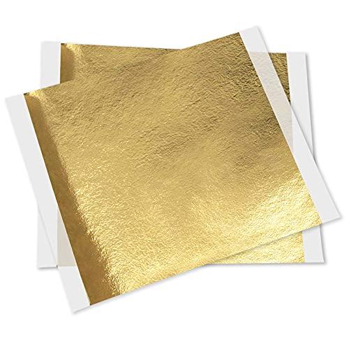 AIBAOBAO Fogli in foglia d'oro 24K, 100 fogli Fogli in vera foglia d'oro Carta stagnola per torta Cioccolatini Decorazione Panetteria Pasticceria Cucina Bellezza Routine Trucco Salute Spa Arte