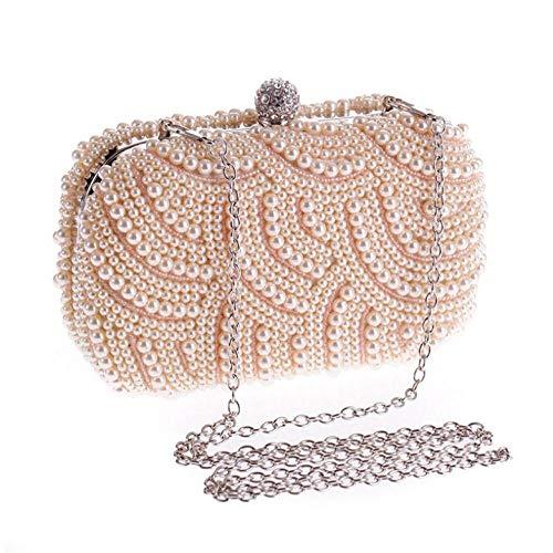 onedayday Handgemachte Perle Clutch Taschen Damen GeldbörseKette weiße Abendtaschen für...