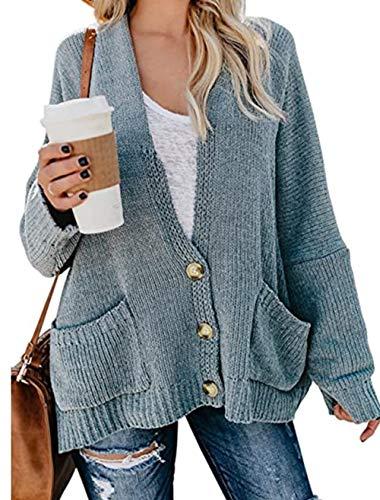 Yidarton Damen Strickjacke Casual Cardigan Oversize Strickpullover Langarm Pullover Strickjacke Oberteil Coat (Himmelblau, Small)