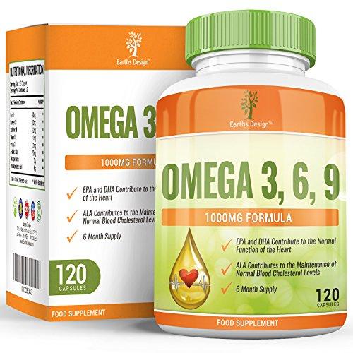 Oméga 3-1000mg Huile de Poisson Oméga-3 - Omega 3 Fish Oil - Avec Huile de Lin et Huile de Tournesol - Haute Teneur en EPA DHA pour Hommes et Femmes - 120 Capsules (2 Mois de Stock) de Earths Design