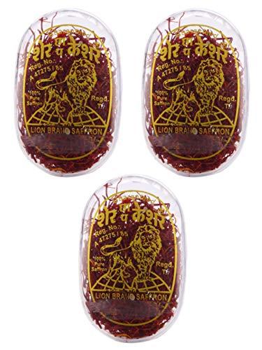 Lion Saffron, Pure Kashmir Lacha Saffron/ Kesar/ Keshar for Beauty, Cooking and Tilak (Pack of 3 * 1gm = 3gm)