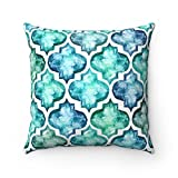 43x 43cm–Marca de agua azulejos azulejos mosaico marroquí cojín funda de almohada–azul y turquesa