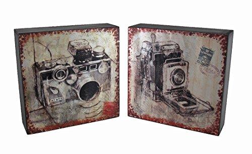 Vintage Kamera Postkarte Print Folie auf Holz Wand Aufhänge-Set von 2