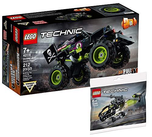 Collectix Lego 42118 - Juego de construcción de Monster Monster Jam Grave Digger de Lego Technic y helicóptero 30465 (bolsa de plástico)