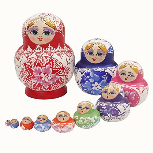 VStoy Familie Schöne Holz Russian Nesting Dolls Getrocknete Linden 10er (Rot)
