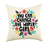Ogiselestyle You can Change The World Girl Motivational Sign Cotton Linen Home Decorative Spring Floral Throw Pillow Case Cushion Cover for Sofa Couch, 18' x 18'