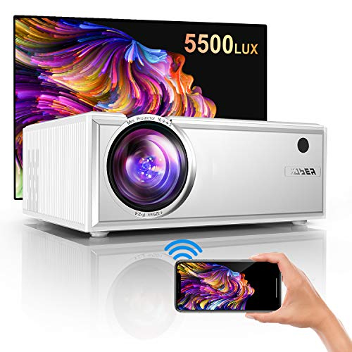 "Projector, YABER WiFi Mini Projector 5500 Lux Full HD 1080P and 200"" Supported, Portable Wireless Mirroring Projector for iOS/Android/TV Stick/PS4/PC Home & Outdoor"