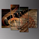 4 Panels Wall Hanging Art Musical Staff Melody Piano Music Notes Instrument Abstract Contemporary Reproduction Home Decoration Wall Art Canvas Painting Picture Prints with Wood Framed by uLinked Art