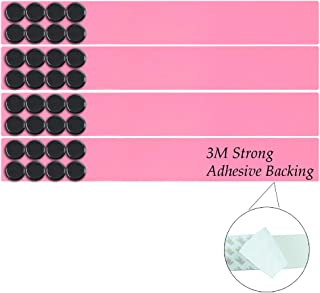 Lockways Magnetic Whiteboard Strip Set, 4 Pieces 2 x 15 Inch Bulletin Board bar, Pink Stainless, Adhesive Backing Memo Board for Office, Magnetic Calendar, Photos, Name Cards & Papers