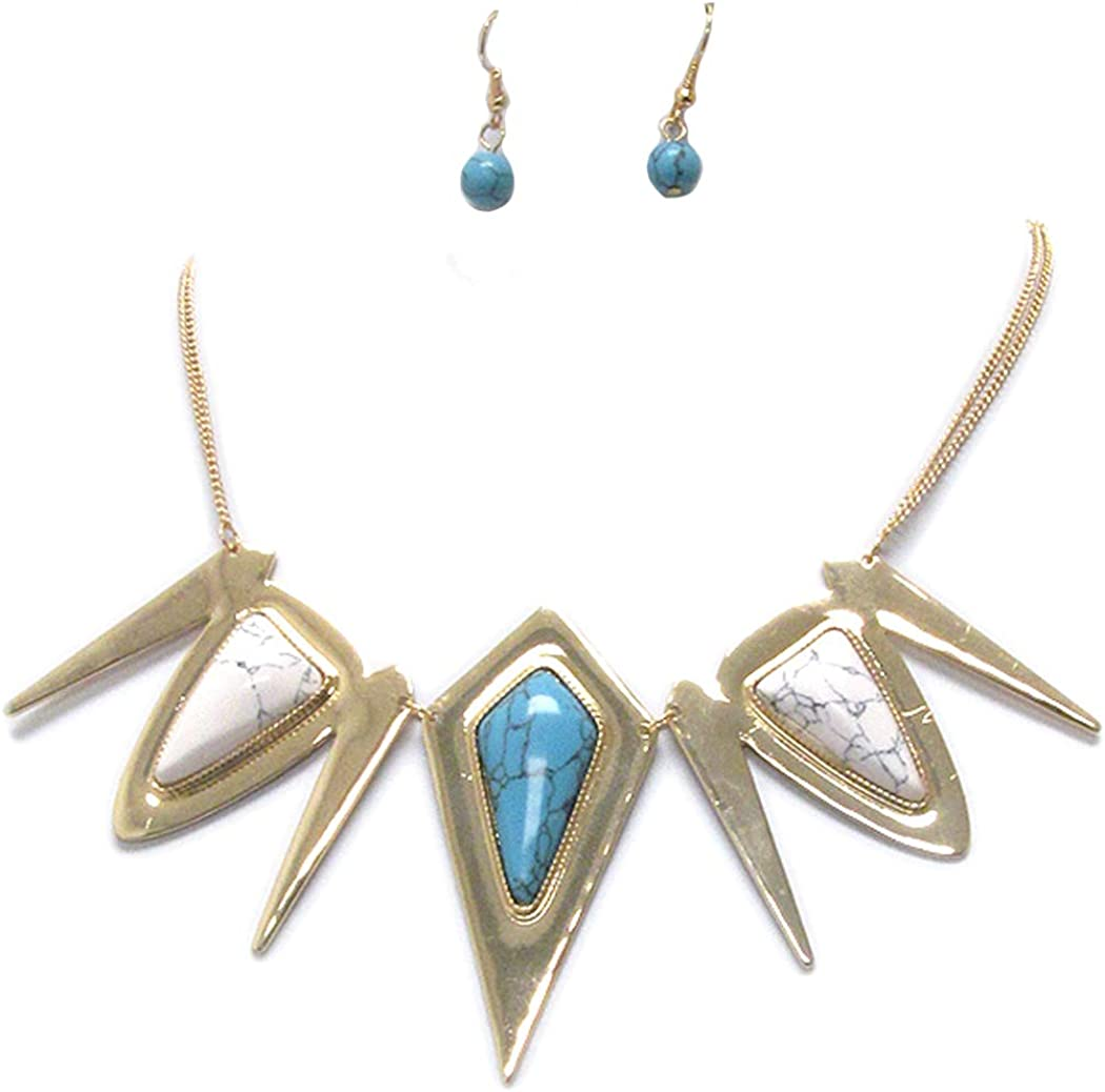 Fashion Jewelry ~ White Blue Acrylic Turquoise Stone Spike Link Goldtone Necklace and Earrings Set for Women Teens Girlfriends Birthday Gifts