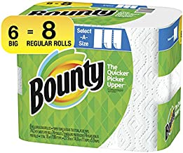 Bounty Select-A-Size Paper Towels, White, Big Rolls, 6 Count of 74 Sheets Per Roll, 6 Count (Pack of 1)