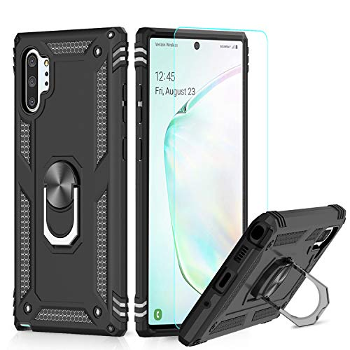 LeYi Funda Samsung Galaxy Note 10 Plus/Note 10 Plus 5G Armor Carcasa con 360 Anillo iman Soporte Hard PC y Silicona TPU Bumper antigolpes Case para movil Note 10+ con HD Protector de Pantalla,Negro