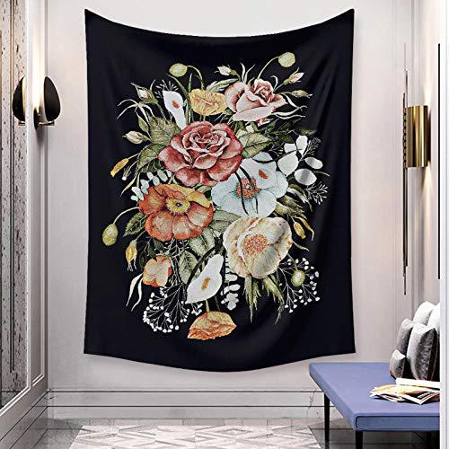 Tapiz de flores arte estilo bohemio colgante de pared estampado bohemio tela de microfibra decoración del hogar tapices de pared