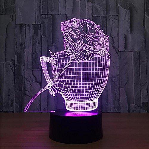 LPY-3D Lampe De Bureau Coloré LED Nuit Romantique Lumière Touch Control Décoration Lumières pour Noël, Mariage, Saint-Valentin, Cadeau d'anniversaire