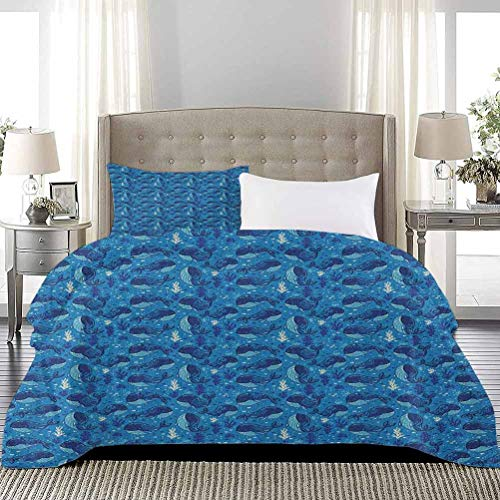 UNOSEKS LANZON Bedding Set Aquatic Background with Fish and Seaweed Cartoon Style Animal Characters Soft Bedding Cover for Women & Men's Bedroom Navy Blue Dark Blue, Full Size