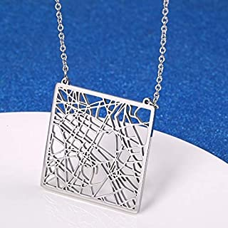 SHUZHENLIAN City Map Necklace Your Favorite Place Hometown Jewelry City On Earth Pendant Necklace For Men Women