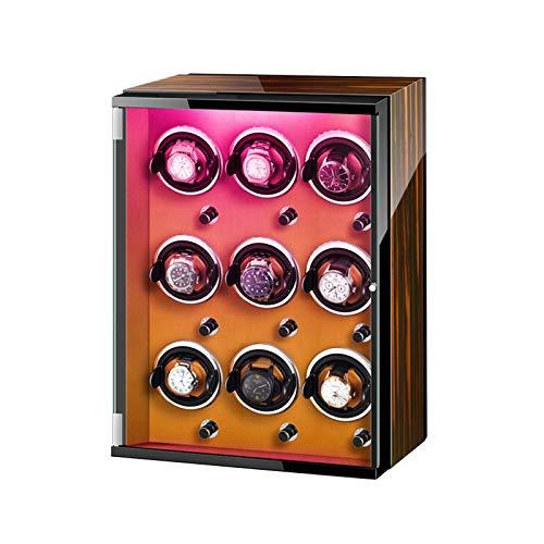 XIUWOUG Caja de almacenamiento para relojes automáticos, luces de colores, almohadilla ajustable para reloj silenciosa, motor silencioso para hombres y mujeres, relojes (color marrón)