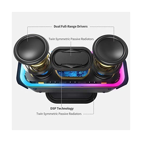 Wireless Bluetooth Speaker with 24W Impressive Sound, Booming Bass, Wireless Stereo Paring, Mixed Colors Lights, IPX5 Waterproof, 15 Hrs Battery Life, 66 ft Bluetooth Range 4