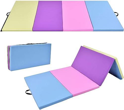 Giantex 4'x8'x2 Gymnastics Mat, Folding Anti-Tear Gymnastics Panel Mats w/Carrying Handles, Hook and Loop Fastener, Lightweight Tumbling Mat, Folding Gymnastics Mats for Fitness, Exercise