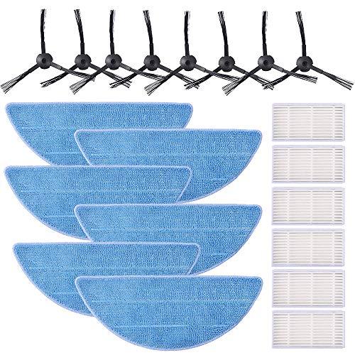KEEPOW Zubehör-Ersatzteil-Kits für ILife V5s, V3s, V5s Pro, V3s Pro Roboter Staubsauger (8 Seitenbürsten + 6 Mop Pads + 6 Filter)
