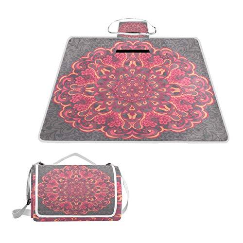 TIZORAX Picknickdecke mit Blumen-Mandala-Motiv, wasserdicht, für den Außenbereich, faltbar, Picknick, praktische Matte für Strand, Camping, Wandern