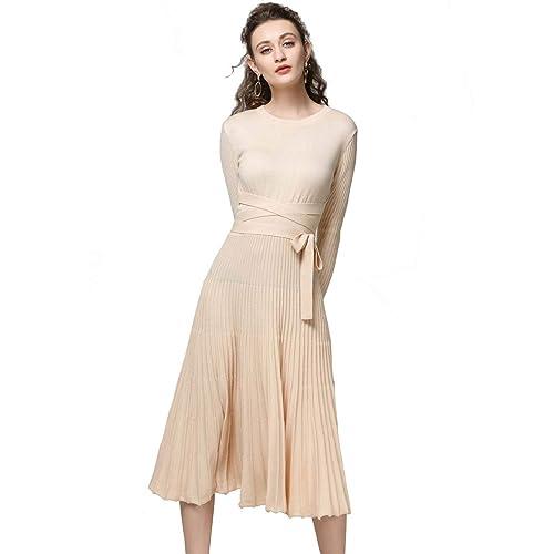 3acf6f9ca9 FINCATI Long Sweater Dress Spring Autumn Cashmere Belt Fitted Waist Big  Swing Midi Dresses at Amazon Women s Clothing store