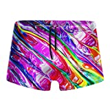 NiYoung Men Boys Board Boxer Briefs Bikini Athletic Swimsuit Swimming Shorts Low Waist Tie Rope Bikini Bottoms (The New Science Tie Dye of Psychedelics Boxer Briefs)