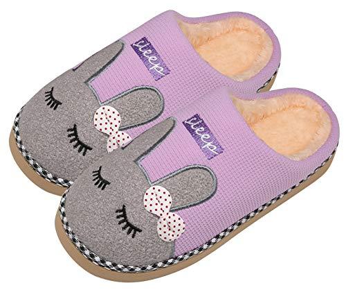Mishansha Invierno Zapatillas Interior Casa Caliente Felpa Algodón Pantuflas Mujer Antideslizante Dibujos Animados Pareja Zapatos, Conejo-Morado, 39/40 EU=40/41 CN