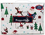 Rugged Bear North Pole Christmas Full Size Warm Cotton Flannel Sheet Set Christmas Trees Santa Reindeers Dogs Snowman Polar Bears