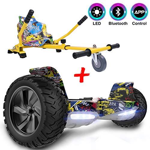 GeekMe Self Balance Scooter 8,5 \'\' All-Terrain mit leistungsstarkem Motor Bluetooth & APP eingebaut + Hoverkart Zubehör für Elektrisches Scooter