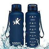 KollyKolla Botella Agua Sin BPA Deportes -1.5L, Reutilizables Ecológica Tritan Plástico,...