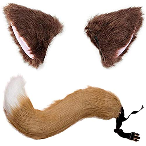 Halloween Kostüme Kunstpelz Fuchsschwanz Mit Katze Fox Pelz Ohren Haarspange Headwear für Teenager und Erwachsene