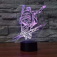 ファッションスケートボード成形3DナイトライトLEDストリートアートスケートボードナイトライトランプ男の子ベッドサイドランプタッチリモコンリモート照明
