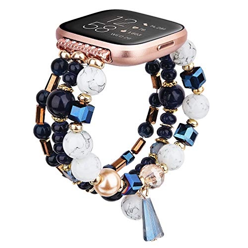 TOROTOP Bracelet Compatible for Fitbit Versa 2 Bands Versa Bands/Versa Lite Band/Versa SE Bands Women Girl, Handmade Fashion Elastic Beaded Strap Replacement for Versa 2018,2019 All Models (Blue)