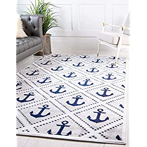 Unique Loom Metro Collection Modern Nautical Geometric Anchor Gray Area Rug (8′ 0 x 10′ 0)