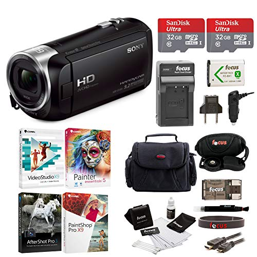 Sony HDR-CX405 1080p Full HD 60p Handycam Camcorder w/Two 32GB SD Cards & Li-ion Battery Bundle -  ACX405WMBDL