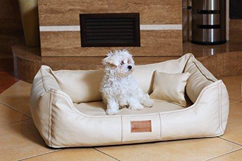 tierlando Lit orthopédique pour chien Maddox Ortho VISCO en similicuir Canapé pour Chien Panier pour chien gr. M 80 cm crème