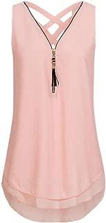 Summer T Shirts Women Tops Loose Sleeveless Tank Top Cross Back Hem Layed Zipper V-Neck