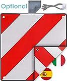 PLANGER - Segnale di Avvertimento Italia e Spagna 2in1 (50 x 50 cm) - Segnale di Avvertimento Riflettente Rosso Bianco per Portapacchi Posteriore e portabiciclette