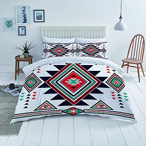 Flyerer Duvet Cover Set-Bedding,Blue Triangle Navajo Aztec Big Pattern Colorful Geometric Native American Mayan,for Single Double King Bed/Made of Ultra-Soft Microfiber