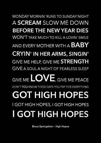 Bruce Springsteen – High Hopes – Schwarzes Liedtext-Poster – A4 Größe