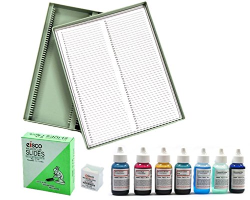 Innovating Science Microscope Stains Vital Stain Kit - 7 Bottle Set, 6 Different Stains, Includes Plain Microscope Slides, Cover Slip and Slide Storage Container