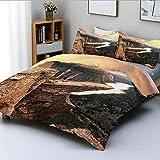 Juego de funda nórdica, paisaje de cañón de las montañas del norte con río tranquilo en Noruega, tapas de naturaleza escénica, juego de cama de 3 piezas decorativas con 2 fundas de almohada, marrón ve